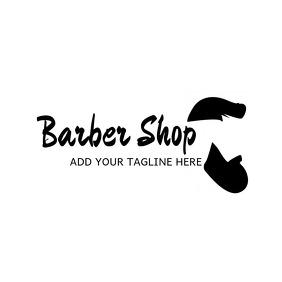 Black and white barbershop logo
