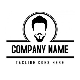 black and white barbershop logo with head 2