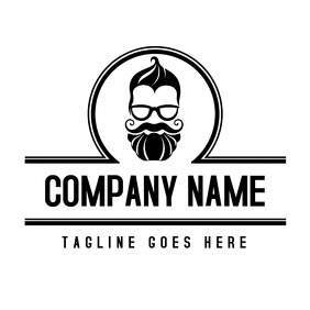 black and white barbershop logo with head ico
