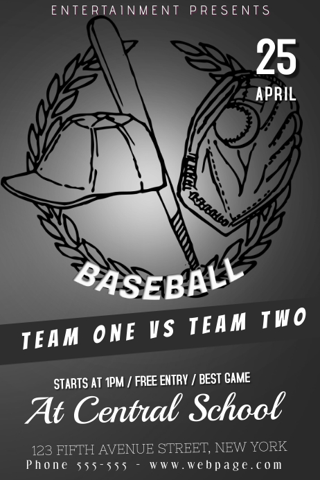 black and white baseball game poster template