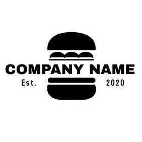 black and white burger icon logo