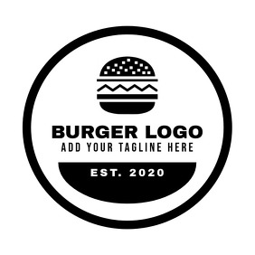black and white burger logo