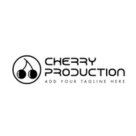 black and white cherry icon logo template des