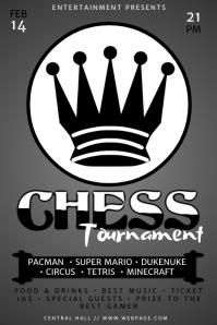 Black and White Chess Tournament Flyer Template
