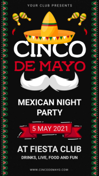 Black and white Cinco de Mayo Digital Signage template