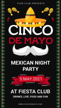 Black and white Cinco de Mayo Digital Signage Digitale Vertoning (9:16) template