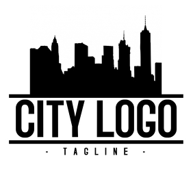 Black and White city logo design template