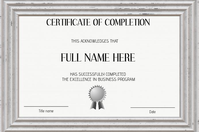 black and white course sertificate landscape template