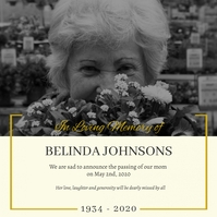 Black and White Death Anniversary invitation Сообщение Instagram template