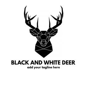 Black and white deer animal icon logo