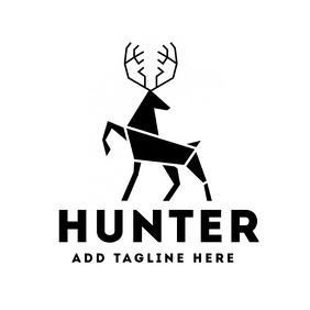 Black and white deer hunter logo