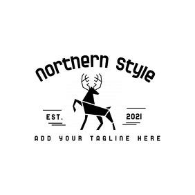 black and white deer icon logo Logotipo template