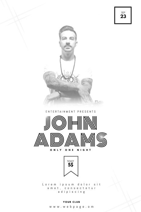 Black and White Dj Party Flyer Template