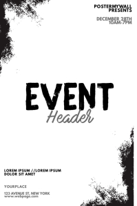 Black and white event flyer design template
