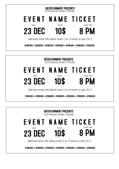 Black and white event ticket template printable size A4 | PosterMyWall