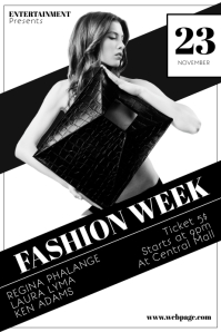 Black and White Fashion Week Flyer Template
