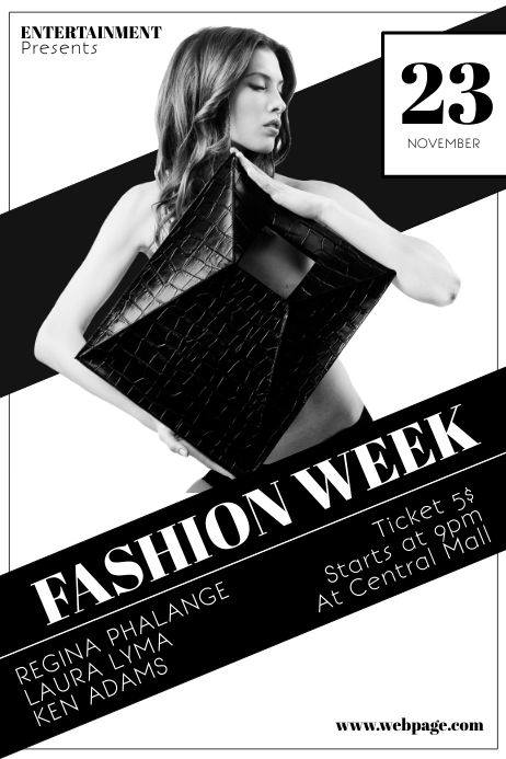 Black And White Fashion Week Flyer Template | Postermywall