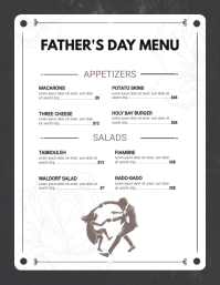Black and White Father's Day Custom Menu Flyer (Letter pang-US) template