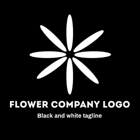 Black and white flower logo with black backgr
