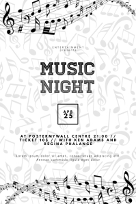 Black and white flyer piano music event concert
