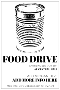 Black And White Food Drive Flyer TEmplate