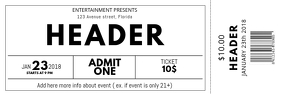 Black and white free Concert Event Ticket Template Bannière 2' × 6'