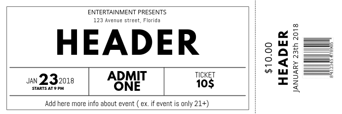 Black and white free Concert Event Ticket Template Banner 2 x 6 fod