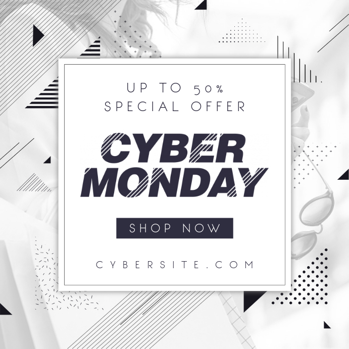 Black and White Geometric Cyber Monday Ad