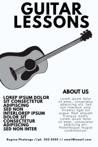 black and white Guitar lessons flyer poster template