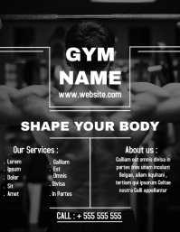 Black and white Gym flyer ad