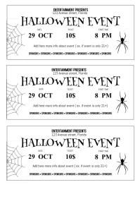 Black And White Halloween Event Ticket Template A4  Event Tickets Template