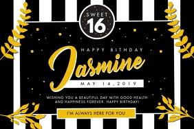 Black and White Happy Birthday Invitation