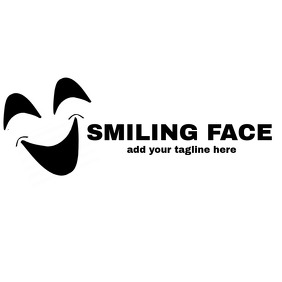 black and white Happy face logo template