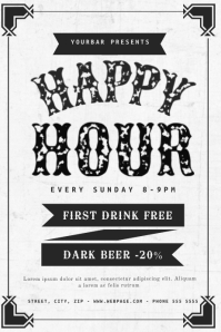 Black and white Happy Hour Flyer Template