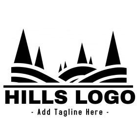 Black and white Hills logo Логотип template