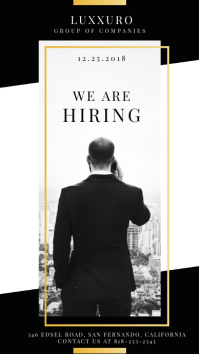 Black and White Hiring Now Instagram Story Ad template