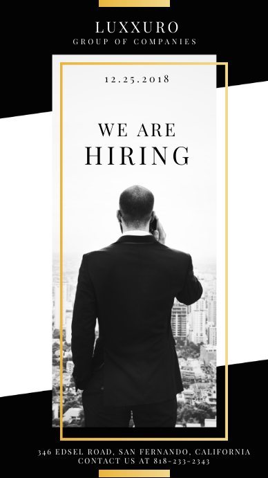 Black and White Hiring Now Instagram Story Ad