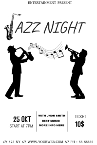 Black and white jazz event flyer template