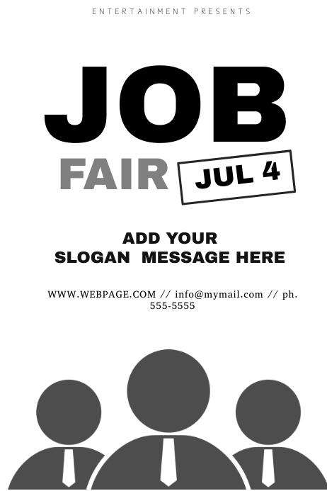 black and white job fair flyer template