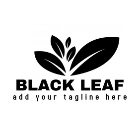 black and white leaves logo