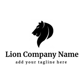 Black and white lion Logo template