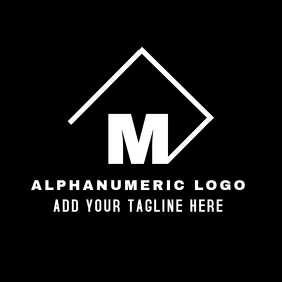 black and white m alphanumeric logo