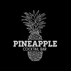 black and white minimal pineapple logo