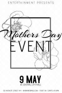 Black and white mothers day event flyer template