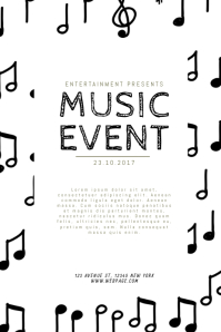 Black and white Music event flyer Template