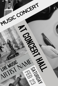 Black and White Music Guitar Concert Flyer Template