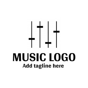 Black and white music logo template design