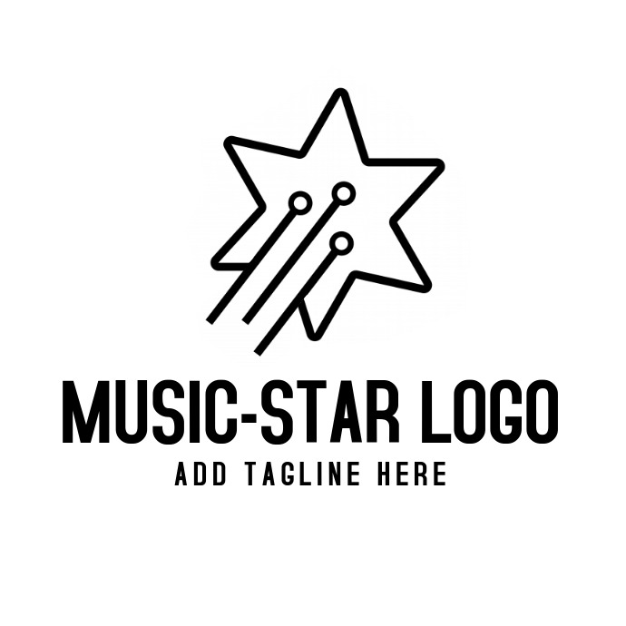 Black and white music star logo template