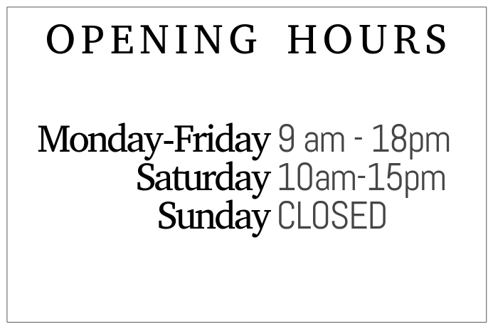 Black and white opening hours simple templale landscape