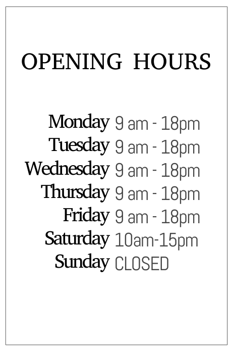 Black and white opening hours simple templale